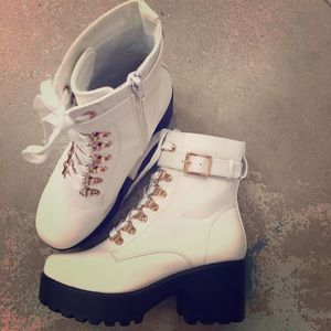 Shoes - White Chunky Heel Combat Boots